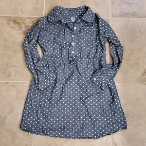 Baby GAP denim polka dot long sleeve dress